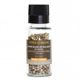 Poivre Blanc de Malabar en grains / moulin de 50g